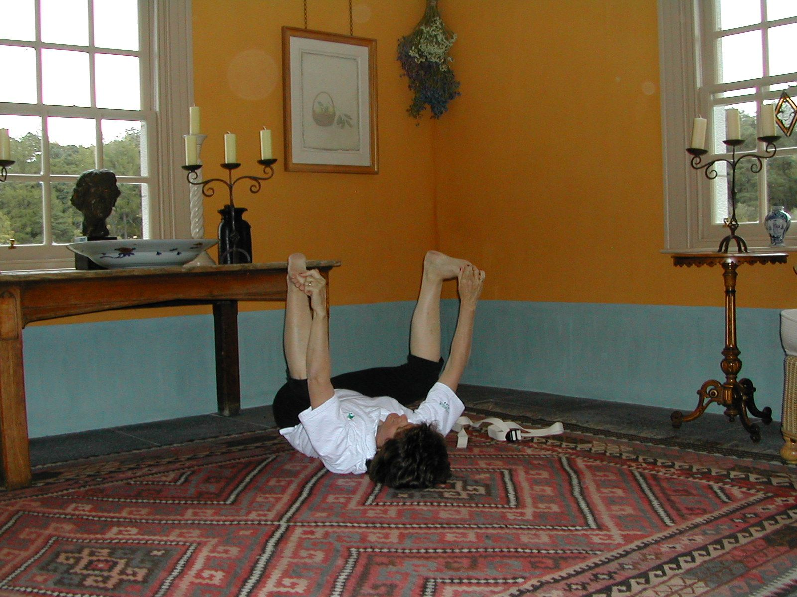 Happy Baby Pose is exercise 3 in Sarah Key's list of the best yoga for lower back pain