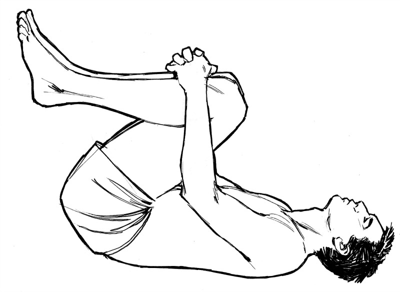 Knee rocking exercise for lower back pain