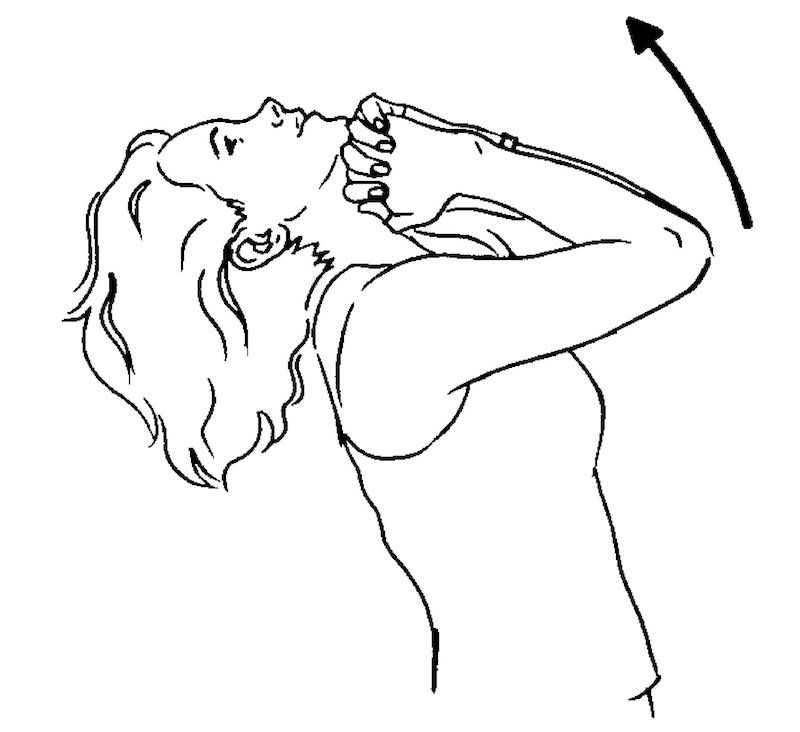 Sketch of woman doing teapot neck stretch