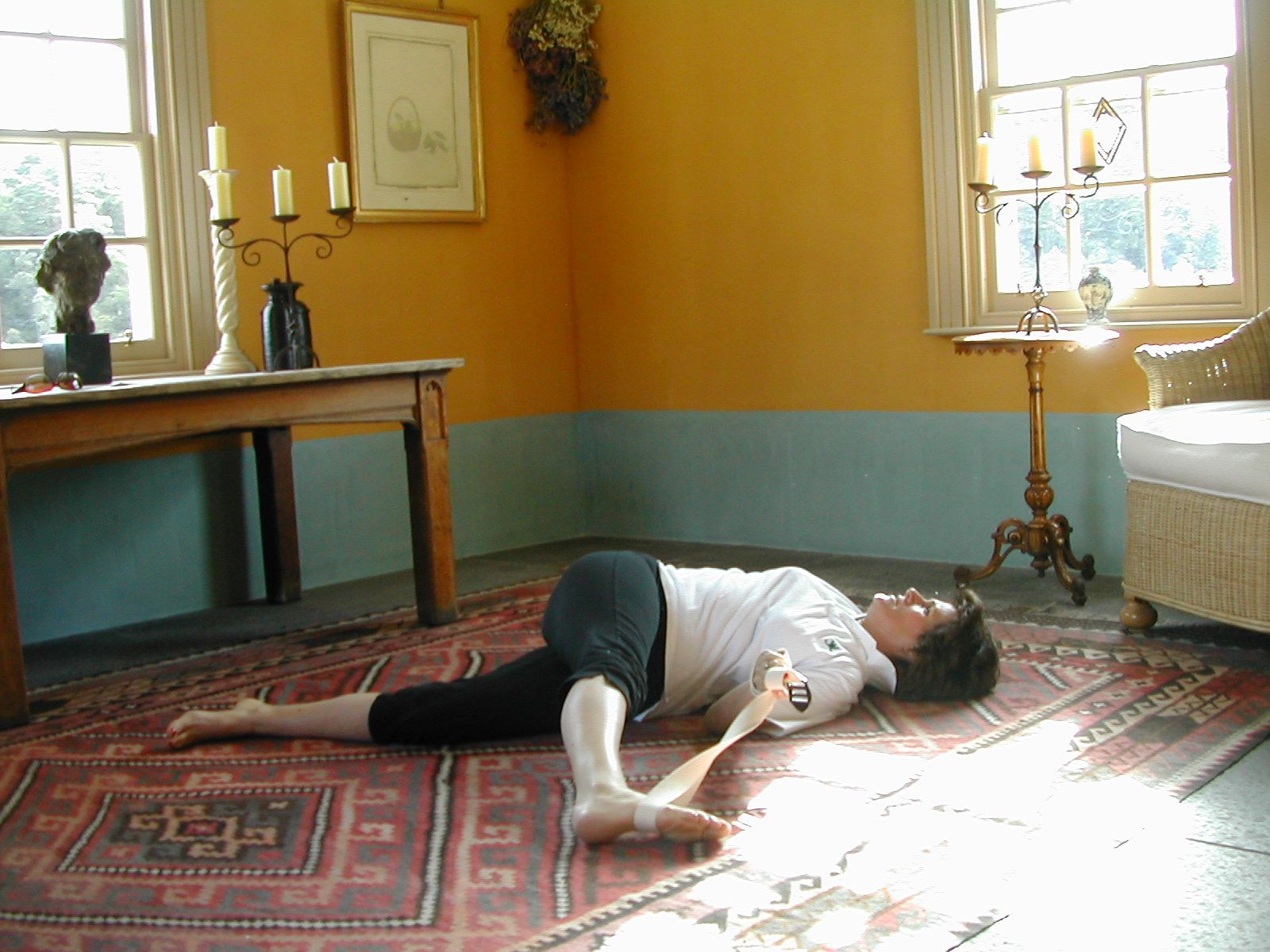 Advanced Sciatic Nerve Stretch 1 is part of exercise 4 in Sarah Key's list of the best yoga for lower back pain