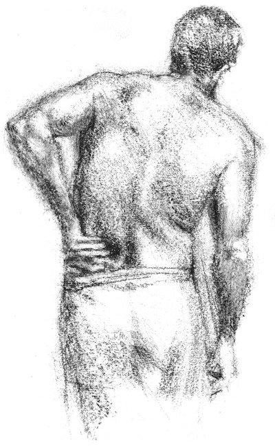 Sketch of man holding lower back, in pain